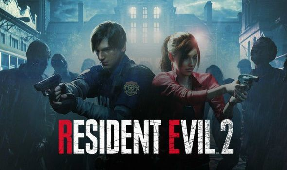 Resident Evil 2 title screen featuring protagonists Leon Kennedy and Claire Redfield.