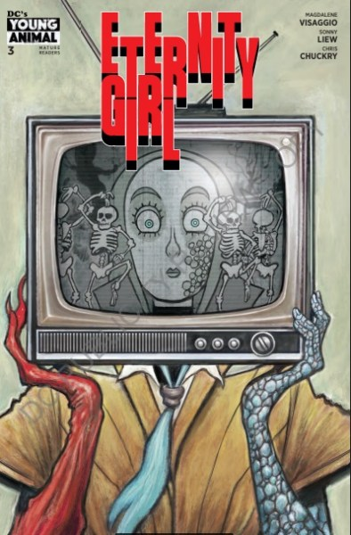 Cover art of Eternity Girl #3 depicting the titular character holding a black-and-white television in front of her face. Caroline's face is seen in the TV screen, surrounded by skeletons.