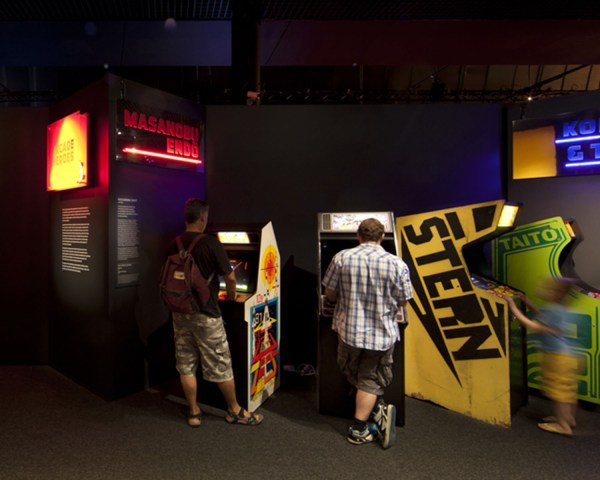 Game Changers attendees enjoying free to play arcade games.