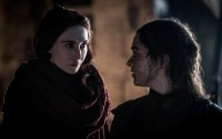 Melisandre looking intensely at Arya