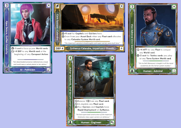 Cards from the game: Ajee Delere, Core System - Calendra, Vice Admiral Zinn Garnath, and Athar Maikeniik.