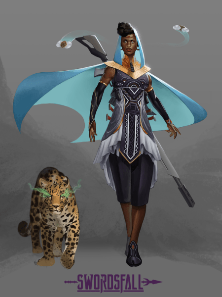 Concept art of a futuristic adventurer with a leopard companion.