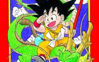 Cover with a red background featuring Kid Goku riding a green dragon.