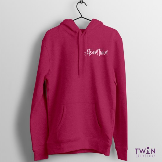 Team Twin Hoodie Small Design Pink