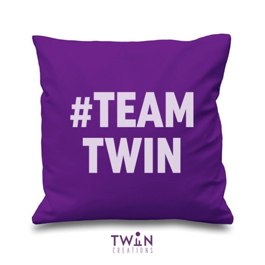 #TEAMTWIN bold cushion cover purple