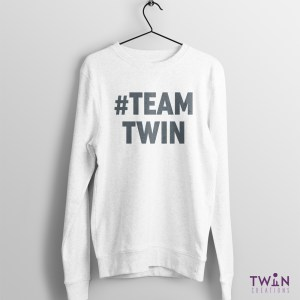 #TEAMTWIN Bold Jumper White Grey