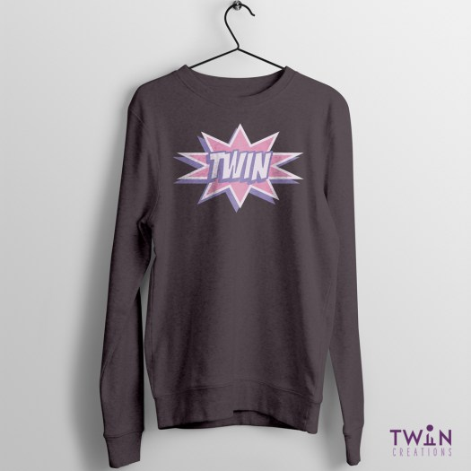 comic twin jumper charcoal pink