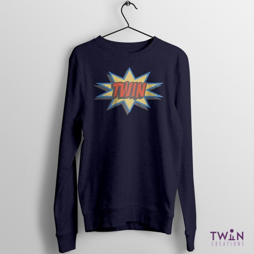 comic twin jumper navy pastel