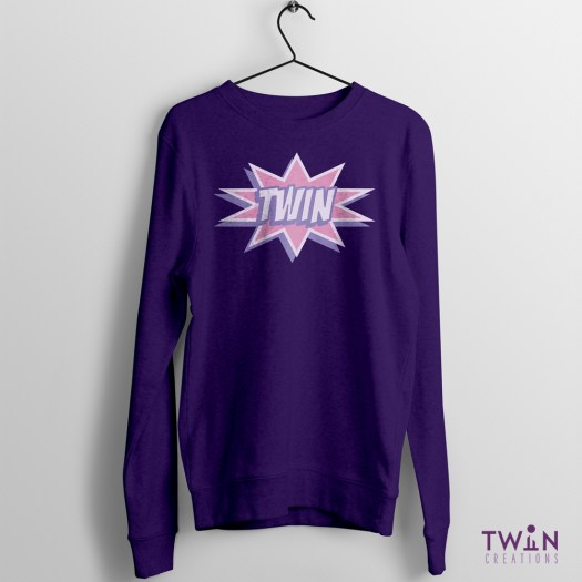 comic twin jumper purple pink