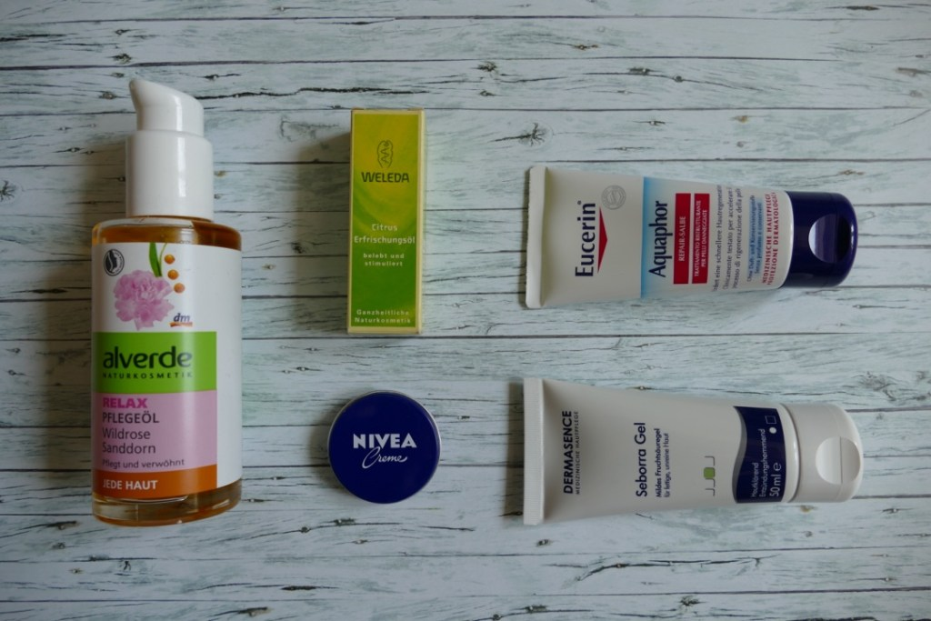 I love organic products from brands like Alverde and Weleda. I guess there's a tin of Nivea in nearly every German household! And some favourite pharmacy brands: Eucerin Aquaphor is a staple, and I've come to love the Dermasence serum with AHA and BHA!