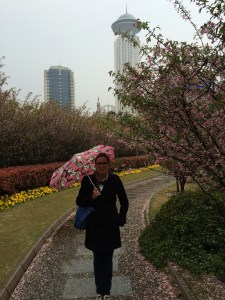 Cherry blossoms, Shanghai People's Square, and me