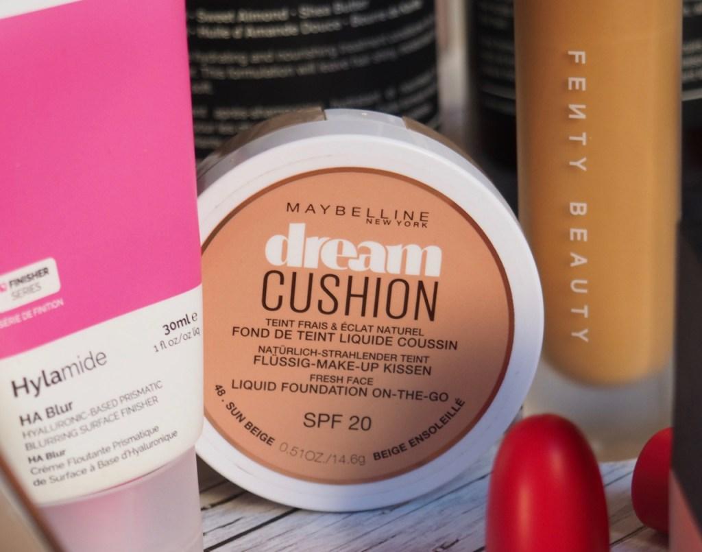 Hylamide HA Blur, Maybelline Dream Cushion, Fenty Beauty Pro Filt'r Foundation in 330