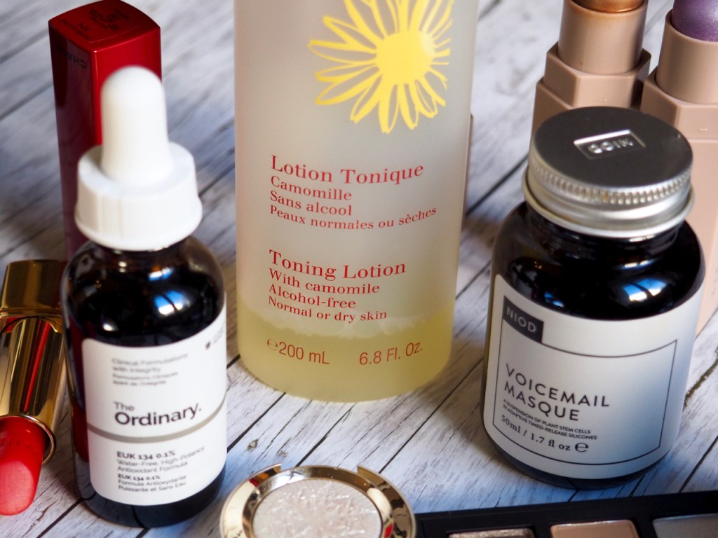 The Ordinary EUK 134, Clarins Toning Lotion with Camomile, NIOD Voicemail Masque