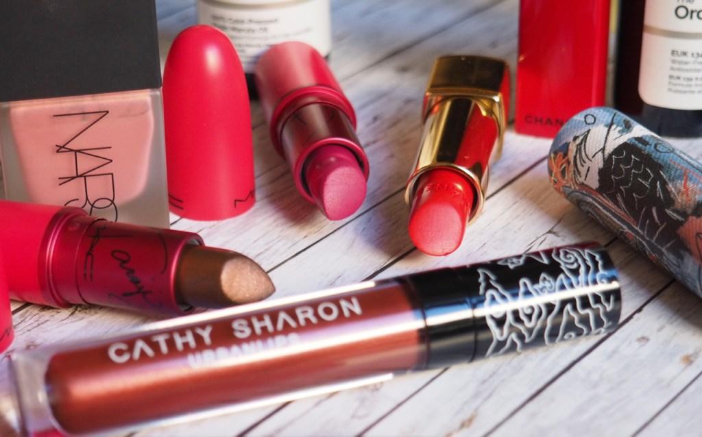 MAC Viva Glam Taraji P. Henson 1 & 2 Lipstick, Chanel Rouge Allure No. 4, Beauty Box x Cathy Sharon Liquid Lipstick in Sekar