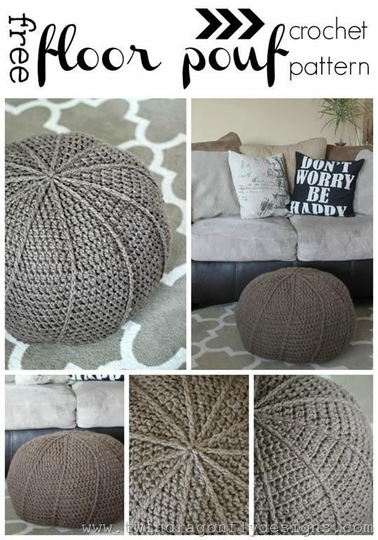 Free Crochet Floor Pouf Pattern  Dragonfly Designs