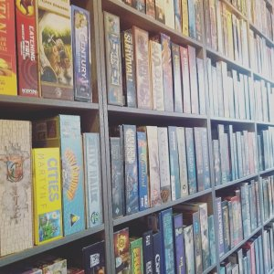 Book shelves full of board games at the Ludorati cafe, Nottingham