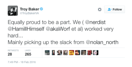 troy baker twitter tweet nolan north