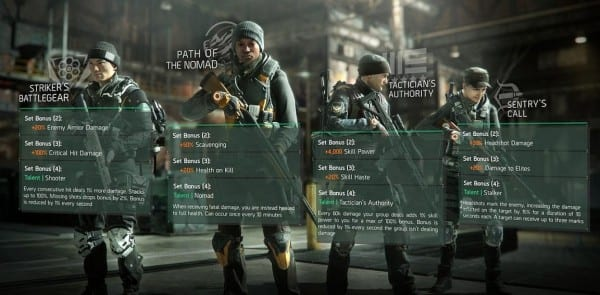 The division, gear sets, Incursions