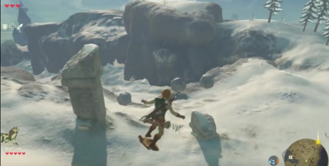 LINK CAN SNOWBOARD ON HIS SHIELD