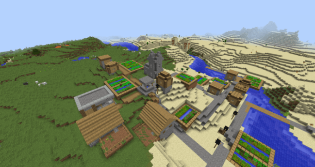Riverside Village With Temple