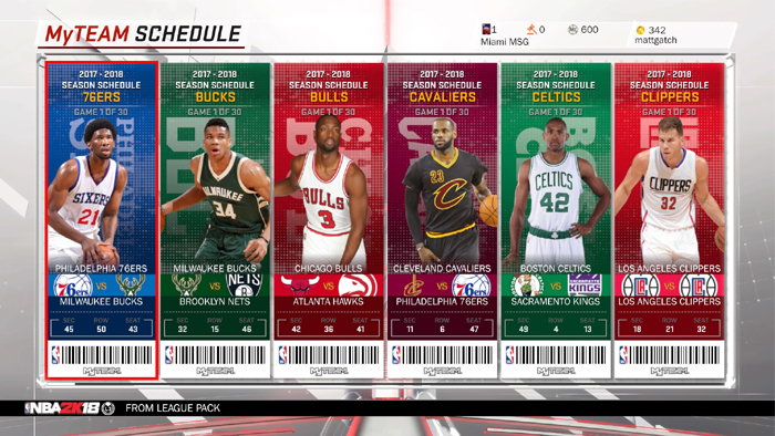 NBA 2K18 MyTeam Schedule Challenges