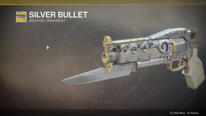 silver bullet destiny 2 ornaments