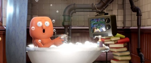 Trover Saves the Universe: Bathtub Guy playing the game