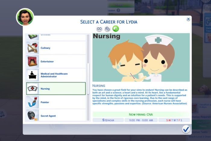 sims 4, mod, nurse career
