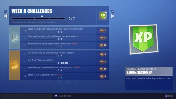 Fortnite Season 6 Week 8 Challenges