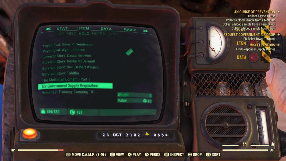 Fallout 76: How to Pick Up & Move Camp