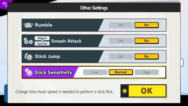 smash ultimate stick sensitivity