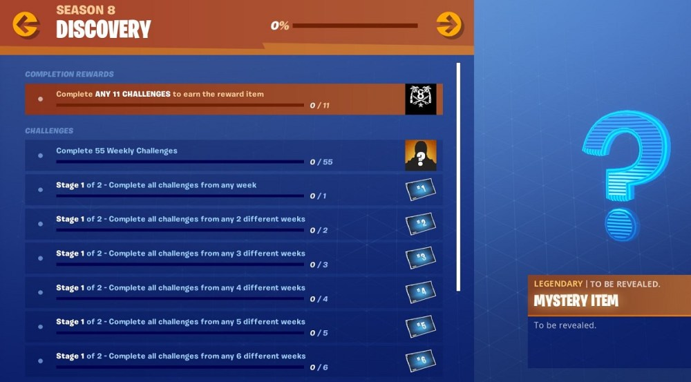 Fortnite, Season 8, Discovery Challenges, Epic Games, Battle Royale