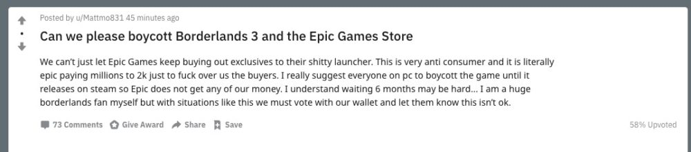 borderlands 3, epic games store
