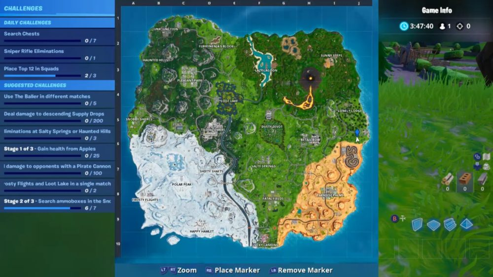 Where the Knife Points on Treasure Map in Fortnite