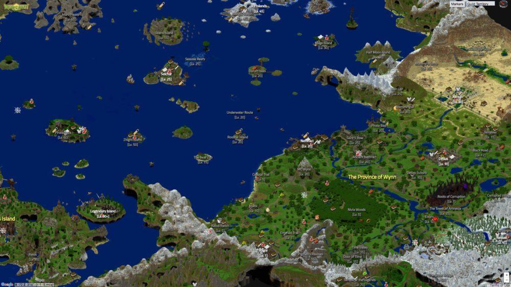 Wynncraft, map