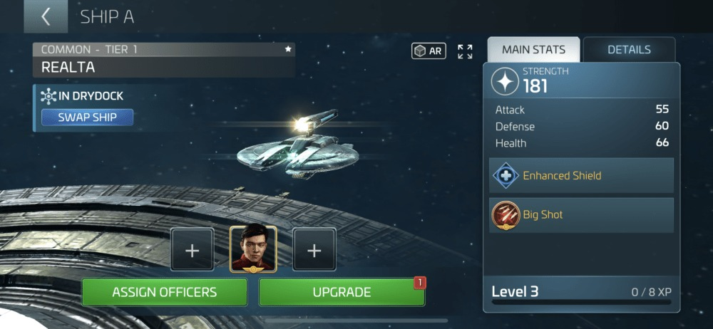 sell ships in star trek fleet command