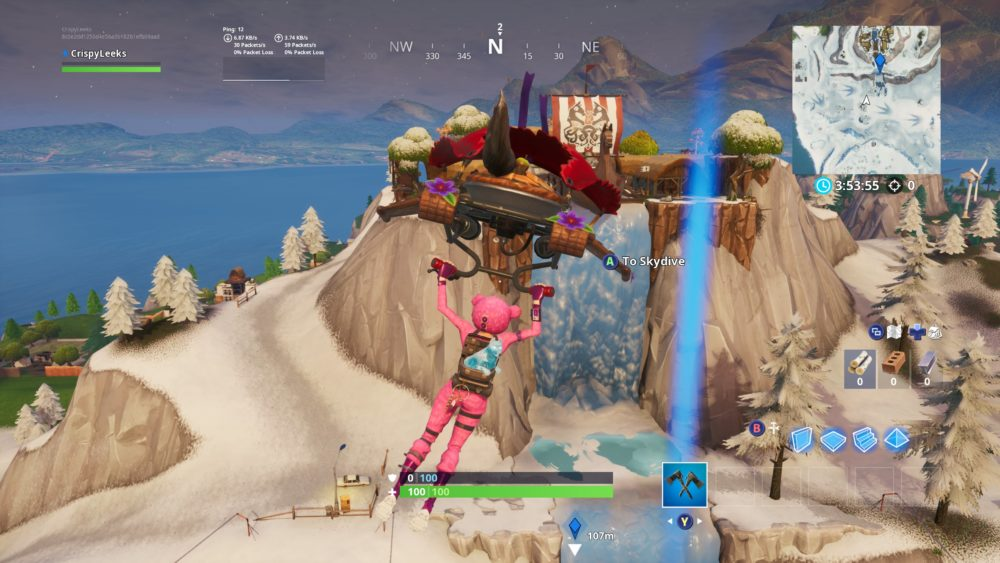 Fortbyte 61 location in Fortnite, sunbird spray on frozen waterfall