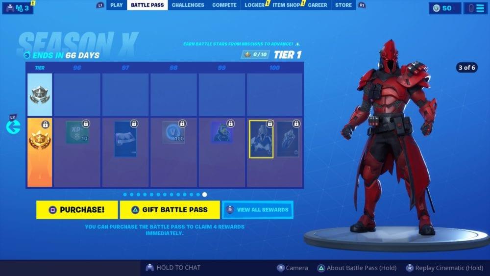 Fortnite, tier 100 skin