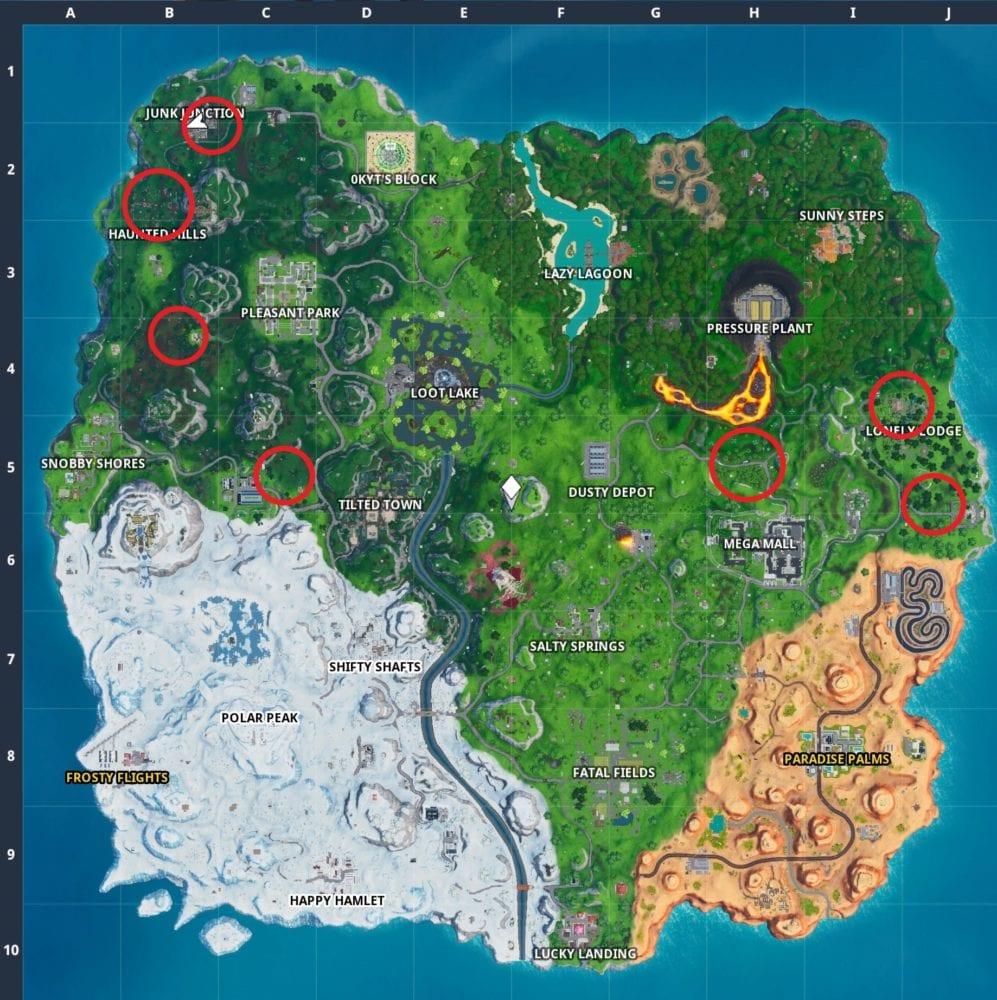 fortnite foraged mushrooms map