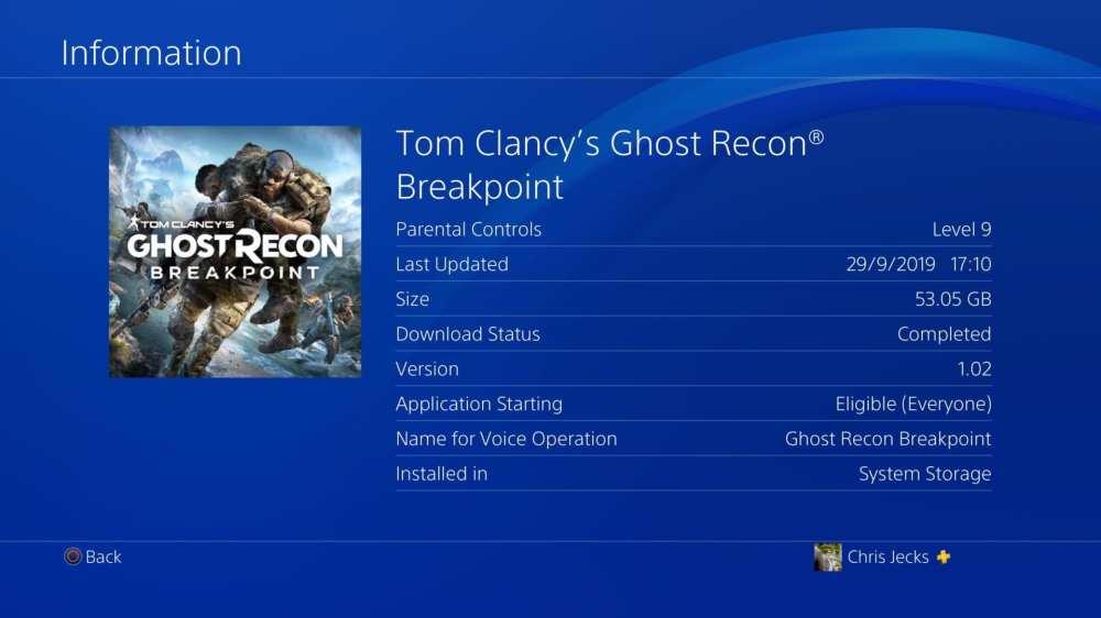 Tamaño de instalación del punto de interrupción de Ghost Recon