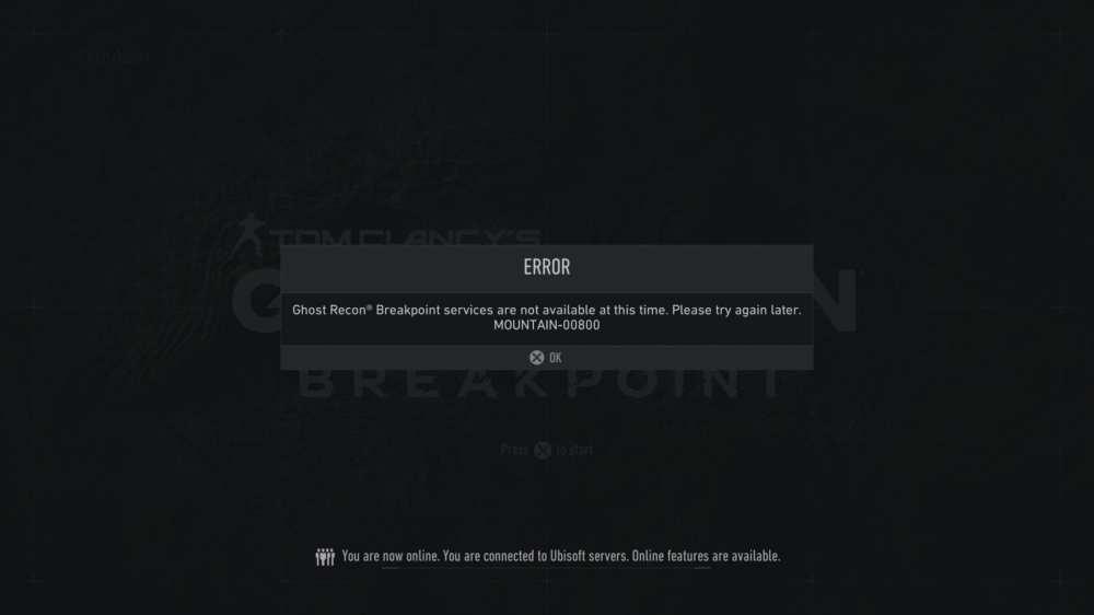 Código de error de Ghost Recon Breakpoint Mountain 00800