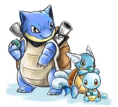 4. Squirtle, Wartortle & Blastoise