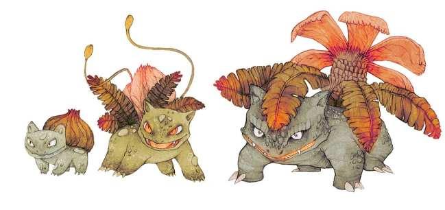 2. Bulbasaur, Ivysaur & Venusaur