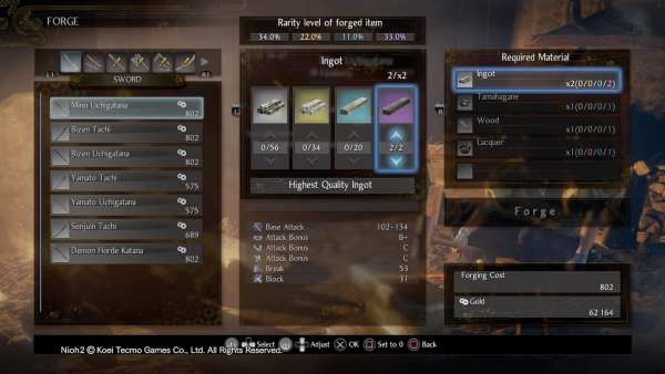 Nioh 2 How to Forge Rarity