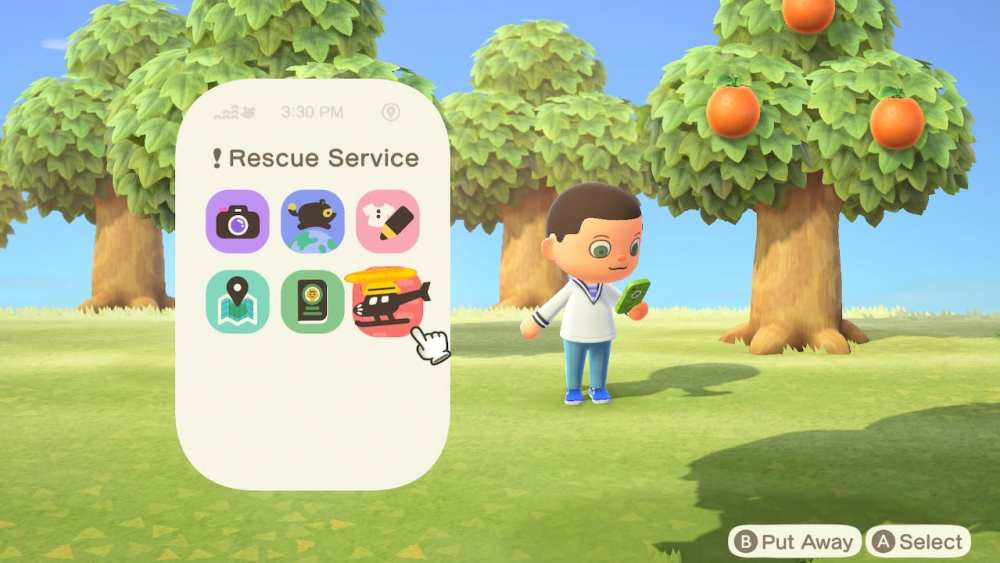 how to call rescue service in Animal Crossing New Horizons