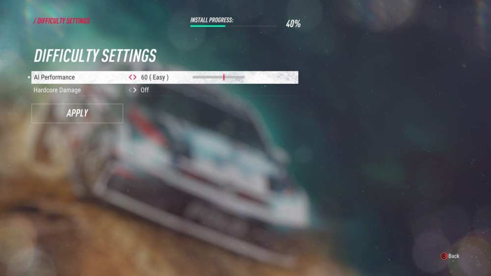 dirt rally 2.0, change difficulty