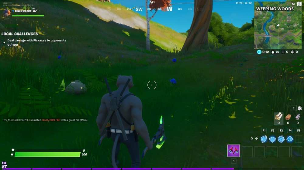 consuming foraged mushrooms in Fortnite