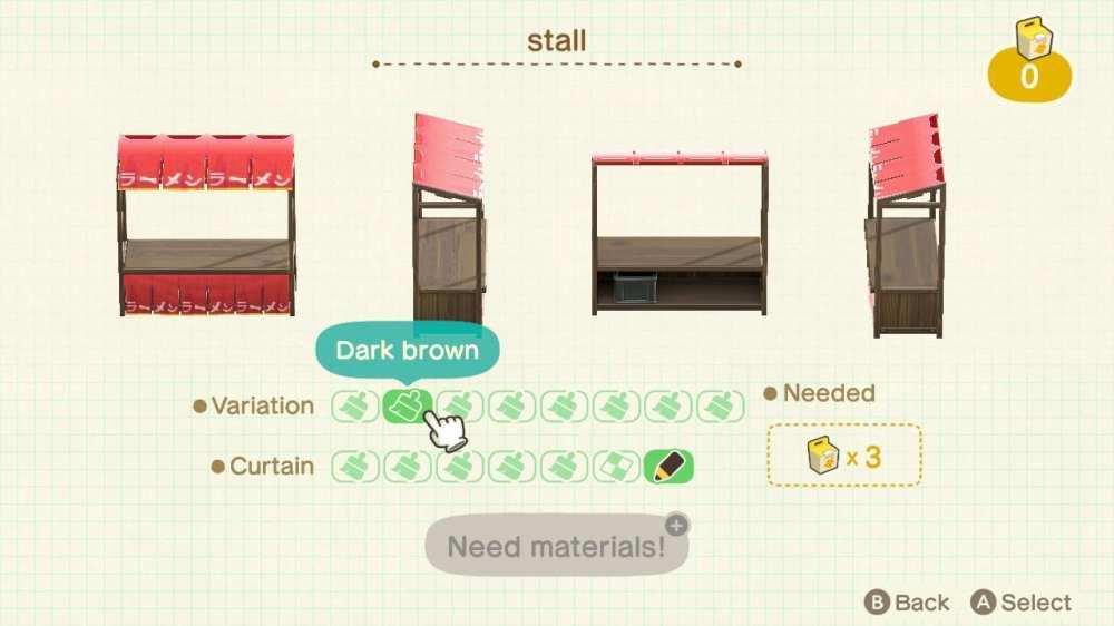 customize stalls, animal crossing new horizons