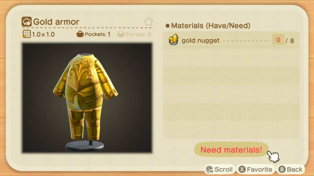 crafting, gold armor