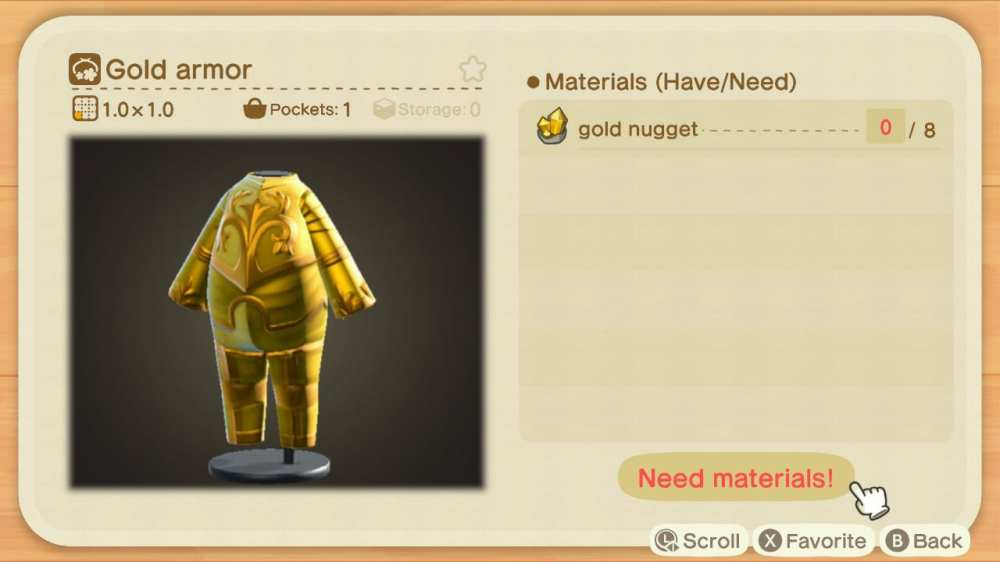 crafting gold armor